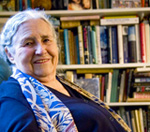 Doris Lessing with her personal books