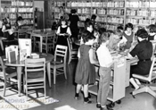 A busy school library at Central Park Road School in Plainview, New York