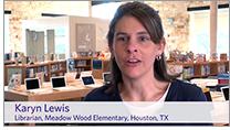 Karyn Lewis, librarian at Meadow Wood Elementary School, Houston. Screenshot from video