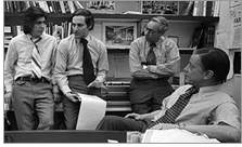 Carl Bernstein, Bob Woodward, Howard Simons, and Ben Bradlee in Bradlee's office