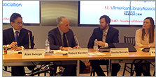 At the ALA National Policy Convening, Alan S. Inouye (left) moderates a panel on Future Directions for the Library of Congress, featuring Robert Darnton, Carl H. Pforzheimer University Professor and university librarian emeritus of Harvard University; Sascha Meinrath, Palmer Chair in Telecommunications at Penn State University; and Katie Oyama, senior policy counsel of Google