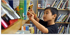 Student at school library