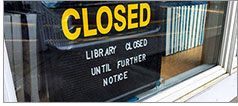Closed sign on Douglas County (Oreg.) Public Library