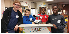 "The student ""techsperts"" at Bay Shore (N.Y.) Middle School with their Libraries Transform ""i'm an expert in"" badges"