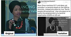 """During her speech at a Council on American-Islamic Relations (CAIR) banquet, Rep. Ilhan Omar (D-Minn.) said: """"CAIR was founded after 9/11, because they recognized that some people did something and that all of us were starting to lose access to our civil liberties."""" This clip was shared on social media and her remarks spawned controversy, but it was taken out of context."""