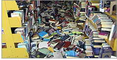 Books displaced by earthquake, Ridgecrest branch, Kern County (Calif.) Library